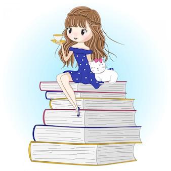 Mão desenhada linda garota com gatinho fofo sentado no livro