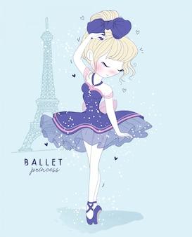 Mão desenhada linda garota dança de balé com cena de paris