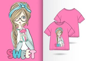 Mão desenhada linda garota ilustração com design de camisa de t