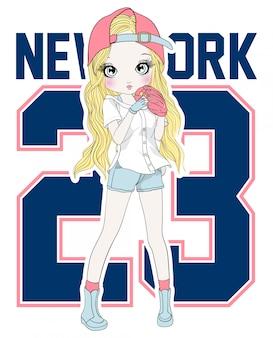Mão desenhada linda garota jogando beisebol