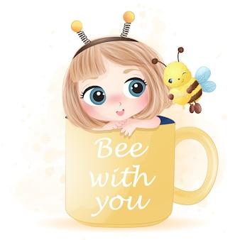 Mão desenhada linda garota sentada dentro do copo brincando com abelha