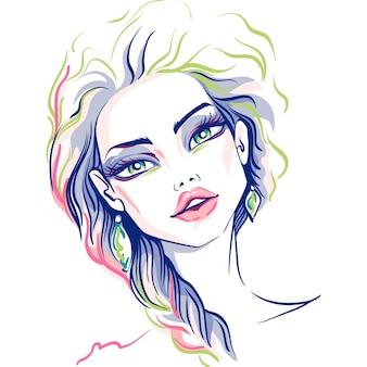 Mão desenhada linda loira. ilustração.