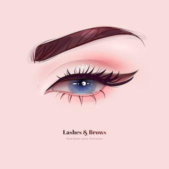 Mão desenhada lindos olhos femininos com longos cílios e sobrancelhas pretas