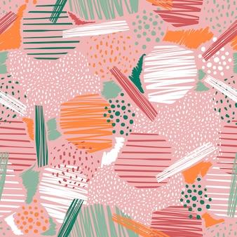 Mão desenhada linha abstrata e padrões de pintura sem costura vetor eps10 humor de cor pastel, design para moda, tecido, têxtil, papel de parede, capa, web, embrulho e todas as impressões em rosa