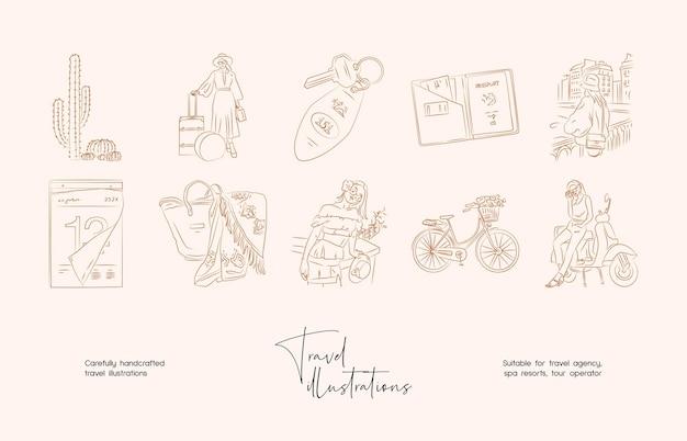 Mão desenhada linha arte coleção de ilustração vetorial de viagens mínimas