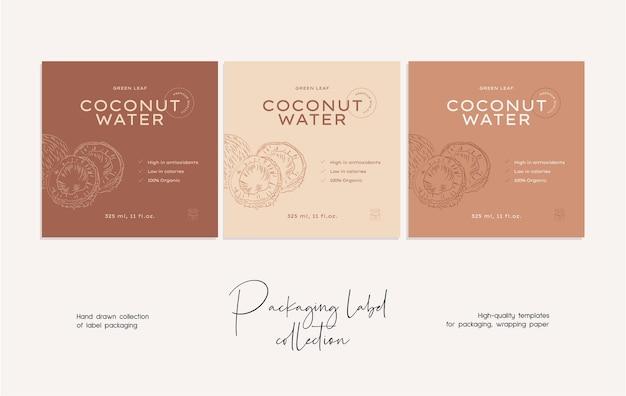 Mão desenhada linha arte vetorial alimento rótulo modelo de design de embalagens