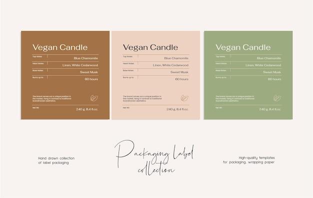 Mão desenhada linha arte vetorial modelo de design de etiqueta de cosméticos