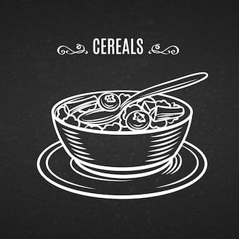Mão desenhada linha ícone café da manhã cereais.
