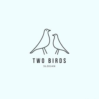 Mão desenhada logotipo de dois pássaros