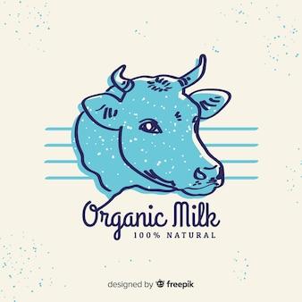 Mão desenhada logotipo de leite de cabeça de vaca