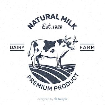 Mão desenhada logotipo de leite de vaca