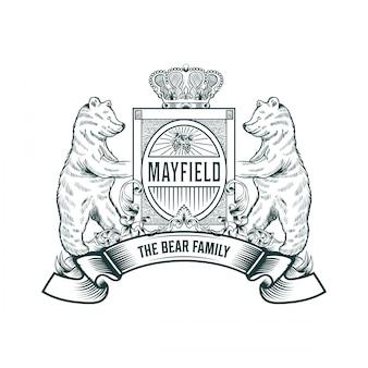 Mão desenhada logotipo do urso
