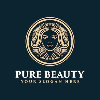 Mão desenhada logotipo feminino com rosto e cabelo apropriado para spa salão pele cabelo e empresa de beleza