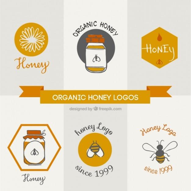 Mão desenhada logotipos bonitos para mel natural
