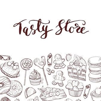 Mão desenhada loja de doces contorneado ou bandeira de confeitos