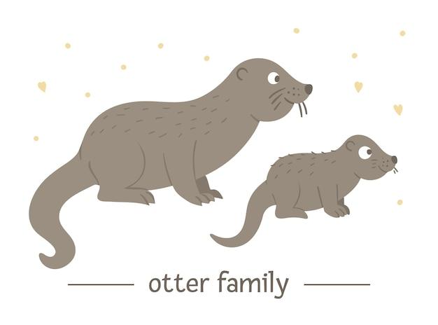 Mão desenhada lontra bebê plana com os pais.