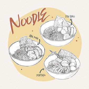 Mão desenhada macarrão, comida tailandesa.