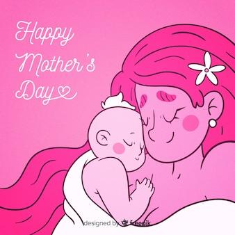 Mão desenhada mãe abraçando fundo de dia das mães bebê