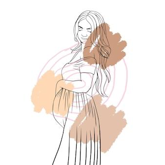 Mão desenhada mãe grávida para o dia das mães linha arte estilo c