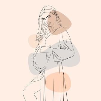 Mão desenhada mãe grávida para o dia das mães linha arte estilo g