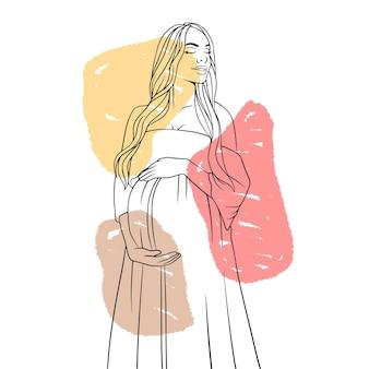 Mão desenhada mãe grávida para o estilo de linha de arte do dia das mães b