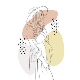 Mão desenhada mãe grávida para o estilo de linha de arte do dia das mães e