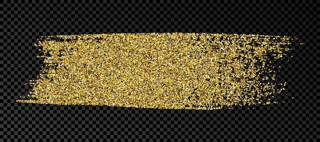 Mão desenhada mancha de tinta em glitter dourado. mancha de tinta dourada com brilhos isolados em fundo escuro e transparente. ilustração vetorial