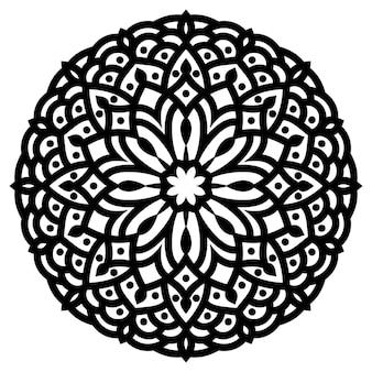 Mão desenhada mandala redonda de renda ornamental oriental monocromática para uso em t-shirt design, cartão vintage, convite para festa, cartaz, brochuras, álbum de presente, capa de álbum de recortes ou páginas