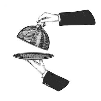 Mão desenhada mão segurando cloche prata e abra a tampa. isolado no fundo branco