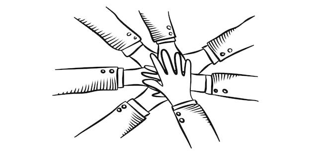 Mão desenhada mãos de diversos grupos de pessoas reunindo isolado no fundo branco. ilustração em vetor doodle.