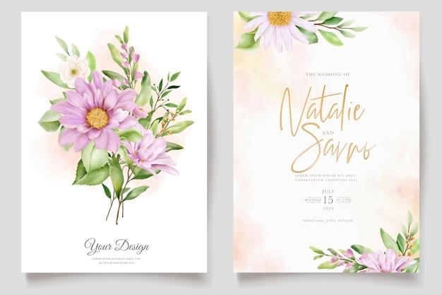 Mão desenhada margarida aquarela floral e folhas conjunto de cartão de convite