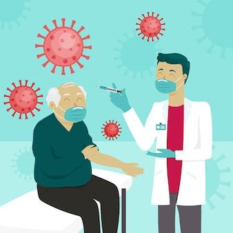 Mão desenhada médico injetando vacina em um paciente