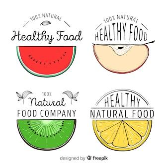 Mão desenhada meia logotipo conjunto de frutas