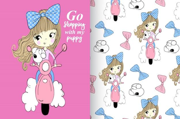 Mão desenhada menina & cachorro fofo com padrão vector set