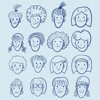 Mão desenhada meninas avatar conjunto no estilo doodle