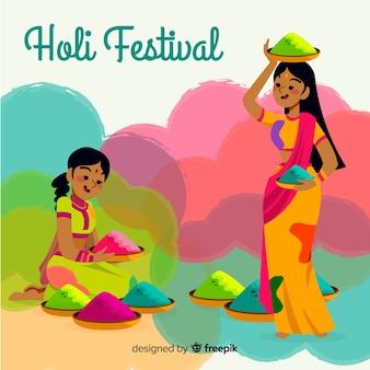 Mão desenhada meninas festival holi fundo