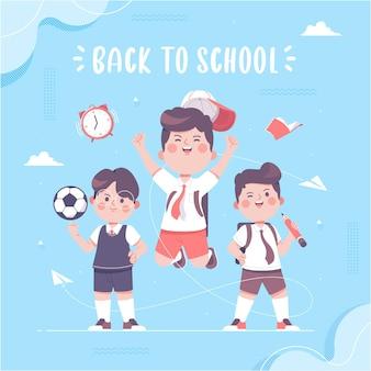Mão desenhada menino bonito vestindo uniforme de volta às aulas