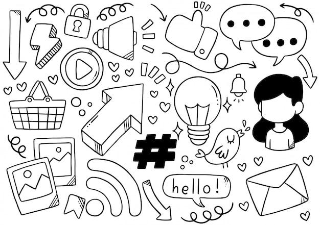 Mão desenhada mídias sociais