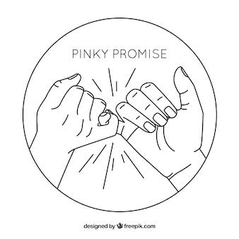 Mão desenhada mindinho promessa conceito