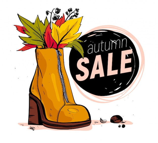 Mão desenhada moda ilustração com tema de venda e outono.