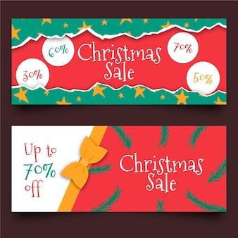 Mão desenhada modelo de banners de venda de natal