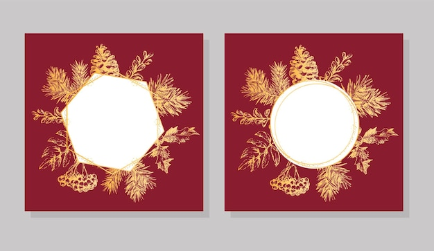 Mão desenhada moldura dourada cartão de convite de natal e ano novo. mão-extraídas ilustração vetorial de coroa de flores retrô sobre fundo claro. coleção de férias de inverno