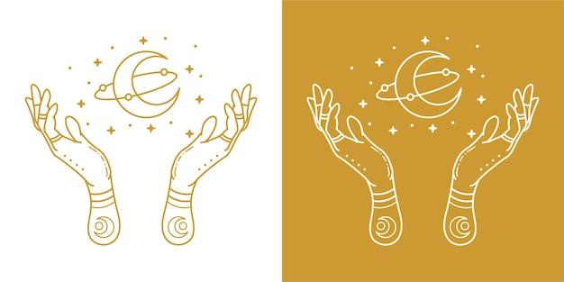 Mão desenhada monoline mãos e lua