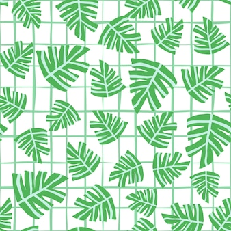 Mão desenhada monstera tropical deixa padrão sem emenda em fundo de listras. projeto de verão para tecido, impressão têxtil, papel de embrulho, têxteis infantis. ilustração vetorial