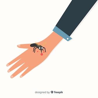 Mão desenhada mosquito mordendo uma mão