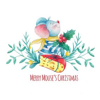 Mão desenhada mouse de natal em aquarela com decorações e queijo