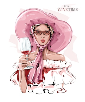 Mão desenhada mulher jovem e bonita no chapéu-de-rosa. moda mulher com copo de vinho. menina elegante em óculos de sol.