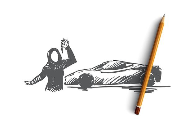 Mão desenhada mulher muçulmana com esboço do conceito das chaves do carro