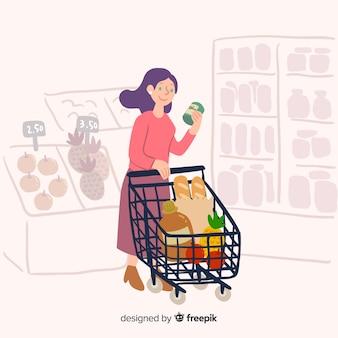 Mão desenhada mulher no fundo do supermercado