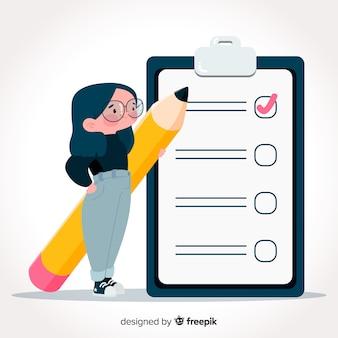 Mão desenhada mulher verificando fundo de lista de verificação gigante